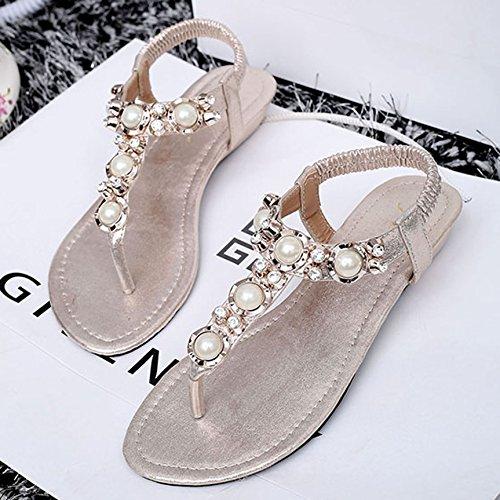 SUNAVY Damen Strass Schuhe Knöchelriemen Bling Beaded T-Strap Sandalen niedrige-heel Sommer Strand Schuhe Flip Flops Gold