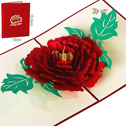 BC Worldwide Ltd Handgemachte Origami papercraft 3D Pop-up popup Pfingstrose Blume Hochzeit Einladung Geburtstag Gruß Weihnachten Weihnachten Valentinstag-Karte