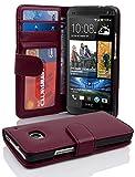 Cadorabo Hülle für HTC One M7 (1. Gen.) Hülle in Handyhülle mit 3 Kartenfächern Case Cover Schutzhülle Etui Tasche Book Klapp Style Bordeaux Lila