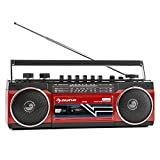 Auna Duke Retro Boombox • Portable Ghetto Blaster • Cassette Deck on the Front • Classic 80s Look • Bluetooth • USB • SD • 4-Band Radio • Telescopic Antennae • Separate Bass and Volume Control • Leightweight • Red