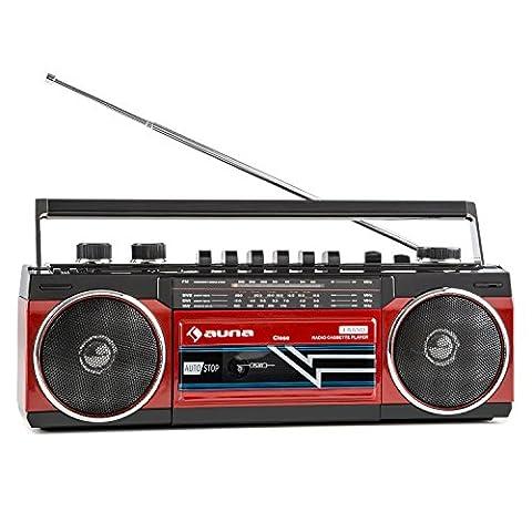 auna Duke - Poste radio cassette portable rétro Ghetto Blaster Bluetooth, entrée USB et SD MP3 et tuner FM (lecteur K7 frontal, utilisation sur piles possible, haut-parleurs stéréo) - rouge
