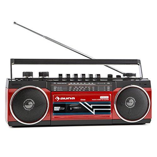 auna Duke Retro-Boombox radiocasete portátil (Bluetooth, puerto USB, entrada SD, sintonizador FM, altavoces estéreo, asa de transporte, MP3, radio de 4 bandas) - rojo