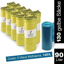 ProfessionalTree Sac jaune 10 rouleaux de 13 x sacs - sac poubelle 90 L - pour porte-sac jaune - rouleau gratuit de 5 sacs poubelle 120l bleu