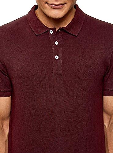 oodji Ultra Herren Pique-Poloshirt Rot (4900N)