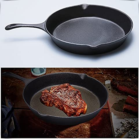 Safekom New XXL 31cm Pre-Seasoned Cast Iron Grill Pan Skillet Cooking Frying Fry Pan BBQ -- Kitchen Induction Cookers Round Cast Iron Fry Pan