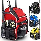DashSport Baseball-Rucksack – Fledermaus-Set für Jugendliche und Erwachsene, T-Ball- und Softball-Ausrüstungstasche, Jugendschläger-Set, rot