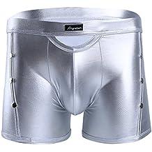 Freebily Homme Boxer sous-vêtement Shorts Cuir Verni Brillant Rivets Slip  Caleçon Briefs Maillots Shorts 36738d55197