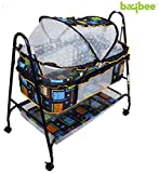 #2: Baybee Baby-Nest Swing Cradle- Lightweight and Transportable with Removable Mosquito Net-Canopy and Wheels | Suitable For Boys & Girls (Black)