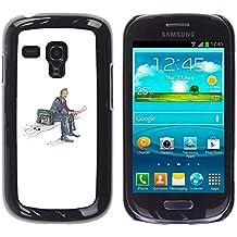 YOYOYO ( NO PARA S3 i9300 ) Smartphone Protección Defender Duro Negro Funda Imagen Diseño Carcasa Tapa Case Skin Cover Para Samsung Galaxy S3 MINI I8190 I8190N - maleta en un lado, la lectura de noticias