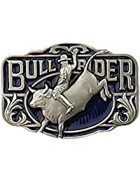 Boucle ceinture Western Rodeo Bull Rider relief en Etain sur email bleu - Made in USA - CJ-1456