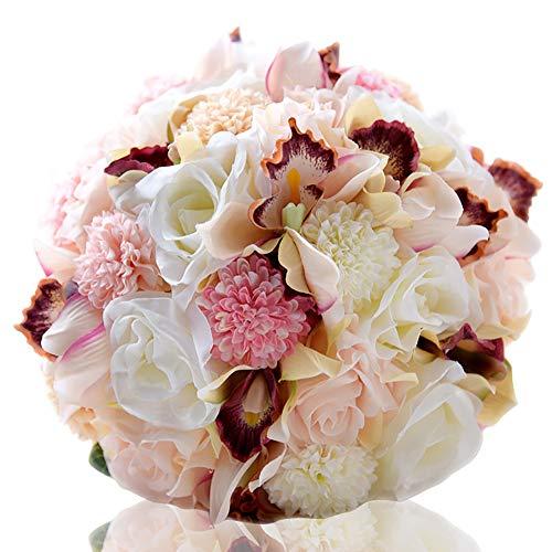 Zemer bouquet da sposa matrimonio,sposa tenendo bouquet con nastro di strass rose artificiali, perfetto per matrimonio, chiesa, festa e decorazioni per la casa (nastro lungo)