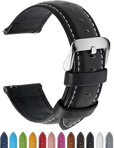 12 Farben Für Uhrenarmband, Fullmosa® Axus Serie Echtes Lederarmband Ersatzband Smart Watch Armband mit Edelstahl Metall Schließe 18mm Schwarz