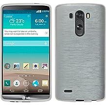 Funda de silicona para LG G3 - brushed blanco - Cover PhoneNatic Cubierta + protector de pantalla