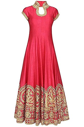 SkD Fashion Coral Red Color Latest Designer Party Wear, Traditional, Indo-Western Long Gown (Semi-Stitched_Free Size)