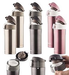Dimono Thermosbecher aus Edelstahl Isobecher Thermostasse Thermobecher Isolierbecher Reisebecher Kaffeebecher - 350ml Schwarz-Metallic