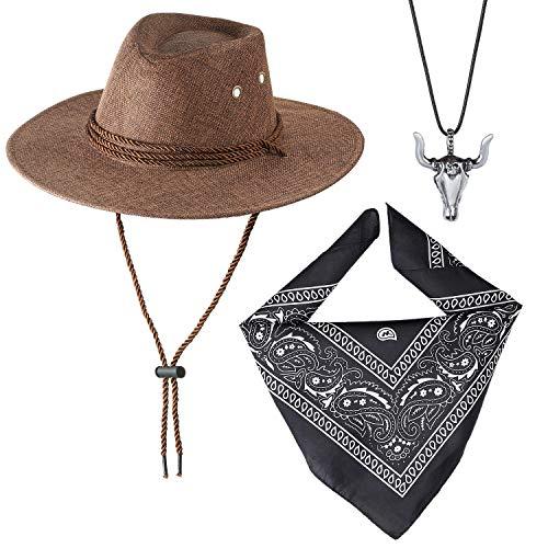 Beelittle Cowboy Kostüm Zubehör Cowboy Hut Bandanna Toy Guns mit Gürtel Cowboy Set für Halloween Party Dress Up (D) (Cowgirl Kostüm Für Jugendliche)