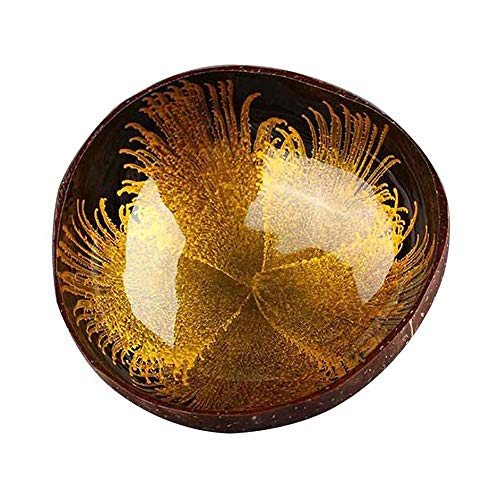 kosnuss-Shell-Key-Süßigkeit Bowl Tabelle -Schlüsselspeicherung Abschnitt Kokosnuss Schale Ink Ornament Speicher Bowl (Gelb) ()