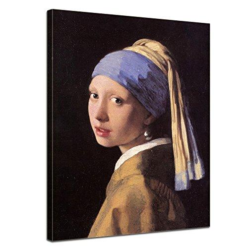 Bilderdepot24 Tela di Canapa Jan Vermeer - Antichi Maestri La Ragazza con l'orecchino di Perla 50x60cm - Completamente incorniciato, Direttamente dal Produttore