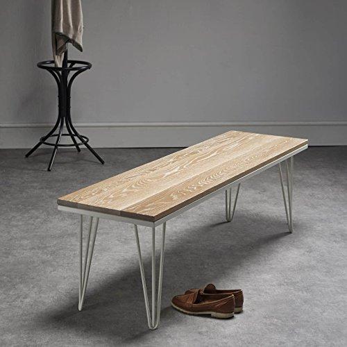 Schöne, solide, weißgetünchte Haarnadelbank aus Eichenholz - weißgetüncht/auf alt getrimmter Stil - passender Tisch und Stühle erhältlich