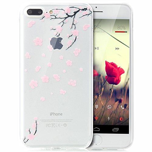 iPhone 8 Plus Hülle,iPhone 7 Plus Hülle,Schutzhülle iPhone 8 / iPhone 7 Plus Silikon Hülle,ikasus® TPU Silikon Schutzhülle Case Hülle für iPhone 8 Plus / 7 Plus,Durchsichtig mit Indische Sonne Schmett Rosa Kirschblüten
