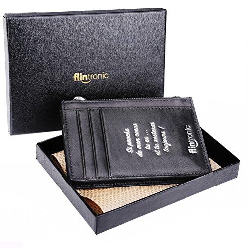 flintronic Portefeuille En Cuir, Impression Belle et Exclusive, Etui RFID Blocage Porte Carte de Crédit, Zip Porte-monnaie