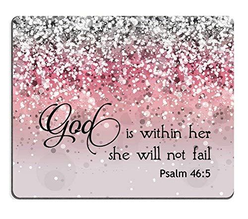 Her,She Will not Fall- Bible Verse Pink Sparkles Glitter Pattern Mauspads Mousepads ()