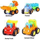 Blossom 4 Pcs Builder Truck -Bulldozer, Tractor, Dump Truck,Cement Mixer/ Mini Engineering Car Tractor Toy/ Model Toy For Children / Truck Set 4 PCS/ Construction Set
