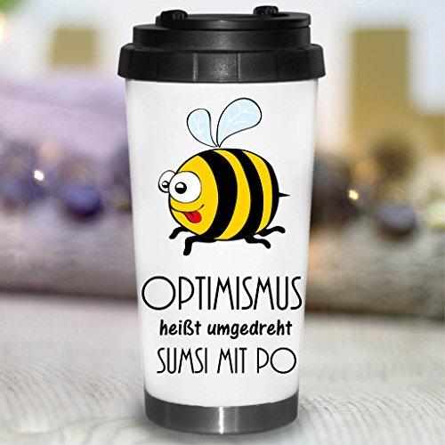 """Wandtattoo Loft® Bedruckter konischer Edelstahl Thermobecher Spruch \""""Optimismus heißt umgedreht Sumsi mit Po.\"""" mit fröhlicher Biene / Becher / Thermobecher mit Motiv und Spruch / Bee"""