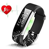 Fitness Tracker HR ZAOYI Heart Rate Monitoring Activity Tracker Bluetooth Smart Bracelet Band Health Tracker Pedometer With Sleep Monitor Step Counter Calorie Burned Sedentary Reminder IP67 Waterproof
