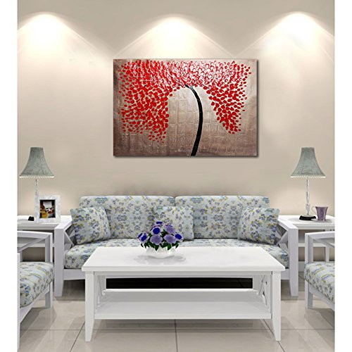 Raybre Art® 100% Pintada a mano sobre Lienzo 60 x 90cm - Pintura al óleo Árboles Cuadros Abstractos Modernos Cuadros Grandes Azul Negro y Rojo Paisajes Natural para Arte Pared Decoración Hogar Sala Cocina Dormitorio, Sin bastidor (Rojo)