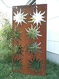 Garten Sichtschutz aus Metall Rost Gartenzaun Gartendeko edelrost Sichtschutzwand PF0005
