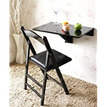 SoBuy® Mesa plegable de pared, mesa de cocina, mueble infantil, mesa para portátil, mesa para comer, escritorio 60x40cm FWT03-SCH, color:negro