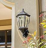 MIAOLEIE Wandleuchte Schwarz/Bronze Outdoor Security IP65 wetterfest mit LED Solar Wandlaternen Wandleuchte Lampe Gartenzaun Tür (mit Fernbedienung),Black