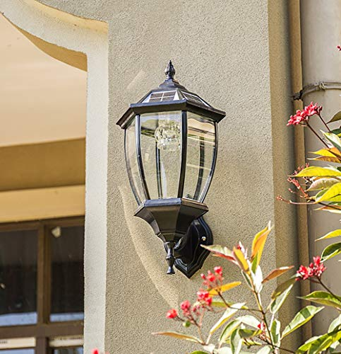 MIAOLEIE Wandleuchte Schwarz/Bronze Outdoor Security IP65 wetterfest mit LED Solar Wandlaternen Wandleuchte Lampe Gartenzaun Tür (mit Fernbedienung),Black -