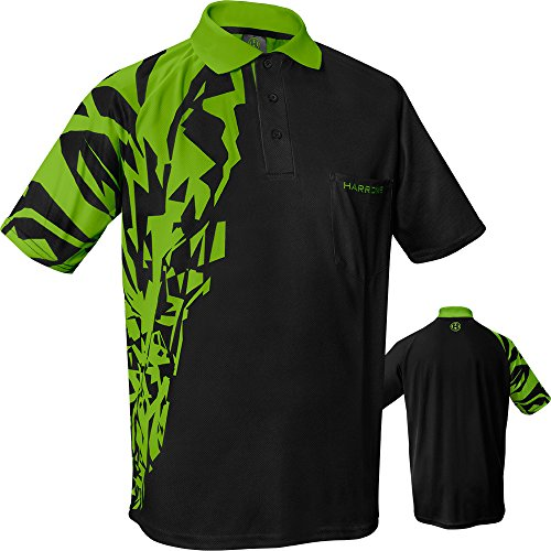 HARROWS Rapide Dart Shirt–atmungsaktiv mit Pocket–Schwarz & Grün–2X L