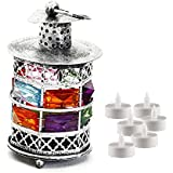 Aapno Rajasthan Rustic Silver Tone Metal Tea Light Holder With Color Stones & Free Tealight For Diwali