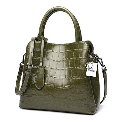 Krokodil-leder Handtasche (Yoome Klassische Damen Krokodil Geprägtem Leder Umhängetasche Frauen Top-Griff Handtaschen Echtes Leder Geldbörse - Grün)