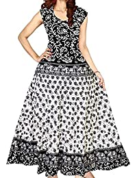 Kanika Fashion Middies for Women's and Girls Cotton Top Skirt Jaipuri Printed Maxi type Long One Piece Dress Traditional Dress