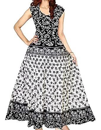 Kanika Fashion Women's Jaipuri Printed Trending Sleeveless Anarkali Kurta