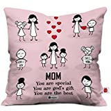 Indigifts Indibni Micro Satin, Fibre Mom and Child Happy Moments Cushion Cover with Filler (Pink, 12x12)
