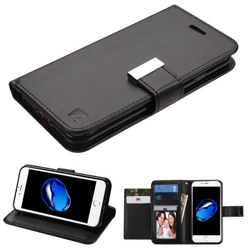 Schutzhülle + Eingabestift für Apple iPhone 7Plus/8Plus MYBAT 3-lagige Geldbörse/Kupplung mit Extra Kartenfächer PU Leder MyJacket Brieftasche, Schwarz/Schwarz -