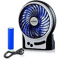efluky Mini Ventilateur Ventilateurs de Table Ventilateur USB Ventilateur Rechargeable Ventilateur Silencieux (noir)
