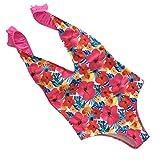 Bovake Maillots de Bain Femme1 pièce, Femmes Mode Bikini Set Push-Up rembourré fleur Imprimer Bra Halterneck Jumpsuit maillot de bain (Multicolore, L)