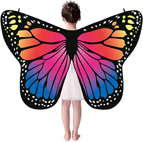 H.eternal Schmetterlings Flügel Schal feenhafte Kind Nymphe Pixie Halloween Cosplay Weihnachten Cosplay Poncho Kostüm Zusatz ()