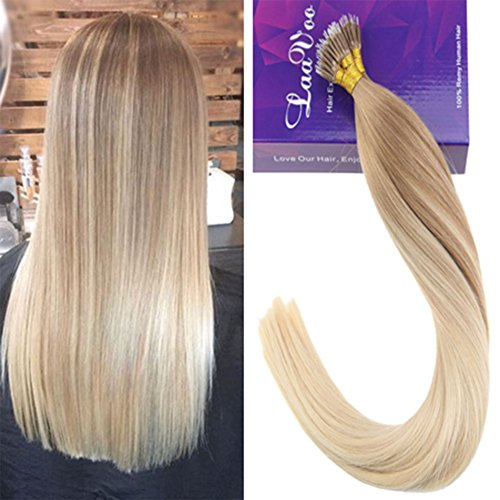 Laavoo 16 pollice nano tip 100% human hair extensions 1 gr per bonded extension capelli veri a fascia 50 strands biondo cenere balayage bionda platino