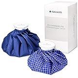 Navaris Borsa ghiaccio acqua calda - Set di 2 sacchetti dimensioni diverse riutilizzabili per il ghiaccio per dare sollievo al dolore in bianco e blu