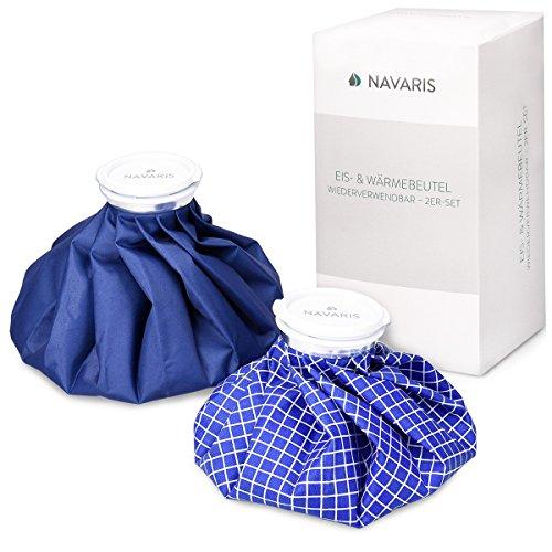 Navaris Kühlbeutel & Wärmflasche Set - 2 Größen warm und kalt - Kühlpads Eisbeutel Kältetherapie für Fuß Knie Kühlkissen Blau Blau-Weiß (Ice-packs Sport)