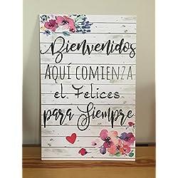 Cartel de Bienvenidos a nuestra Boda flores azules y rosas. Aquí comienza el Felices para Siempre. 47x31.