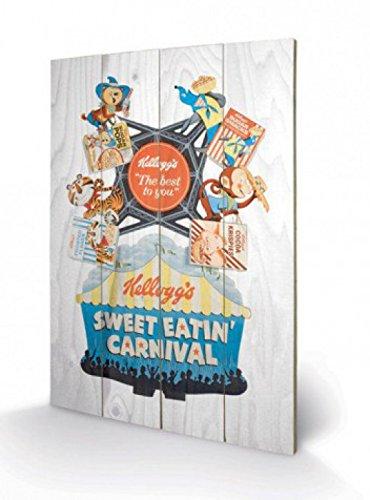 1art1 Set: Marken, Kellog's Süße Frühstücksflocken, Retro Poster Auf Holz (60x40 cm) + 1x Aktions-Home-Deko Artikel