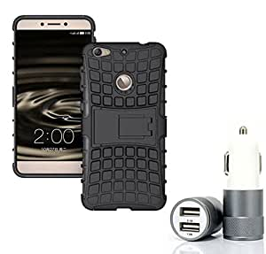 Droit Shock Proof Protective Bumper back case with Flip Kick Stand for LETV IS + Car Charger With 2 Fast Charging USB Ports by Droit Store.